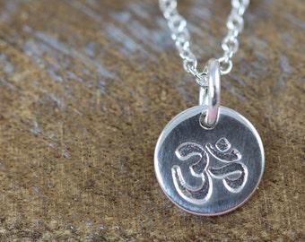 Ohm Necklace, Om Charm, Aum Pendant, Spiritual Jewelry Gift Idea, Yoga Jewelry, Meditation Jewelry, Sterling Silver
