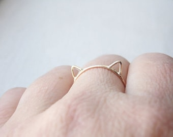 Cat Ears Ring Cat Ring in 14k Solid Gold