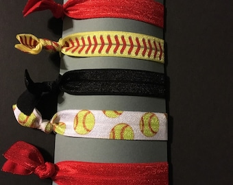 5 Softball elastic hair ties as pictured