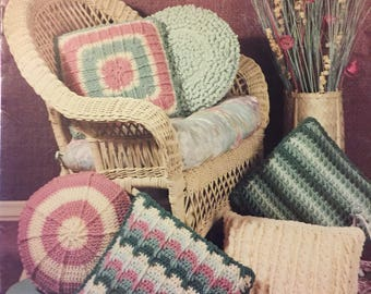 Crocheted Pillows from Leisure Arts Leaflet 838  Six Designs Worsted Weight yarn