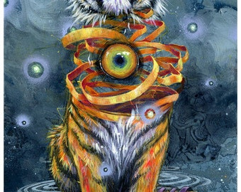 "Tiger Art Tapestry - Large Format Art Tapestry - ""Eyes Wide Shut"" by Black Ink Art"