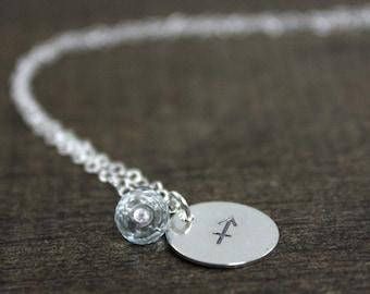 Stamped Birthstone Necklace - Sterling Silver - December Sagittarius - Zodiac Necklace - Zodiac Jewelry - Horoscope - December Birthstone