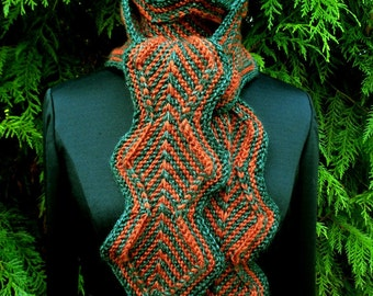 Zigzag Diamond Knit Scarf in Green and Rust Medium Size