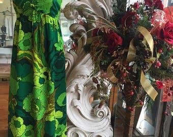 Vintage 1960s 1970s Green Floral Hawaiian Empire Waist Maxi Dress 34 Bust