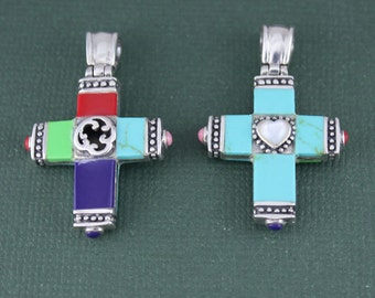 Sterling Silver Turquoise/Multi Color Cross Pendant, Cross Pendant, Stone Cross Pendant, Statement Cross Pendant, Pendant Findings SSPD007