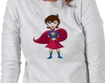 Super Mom T-Shirt - Graphic Tee - Womens Long Sleeve Cotton Tee