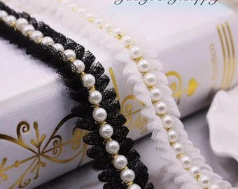 Lace Trim with Pearl Beads