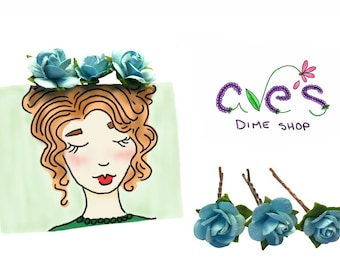 Turquoise Rose Bobby Pins by Ave's Dime Shop