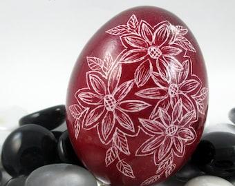 Pysanky, Pisanki, Ukrainian Egg, Polish Easter Egg, Skrobanki, Easter Egg, Ukrainian Easter Egg, Scratched Egg, Pysanky Egg, Red Floral