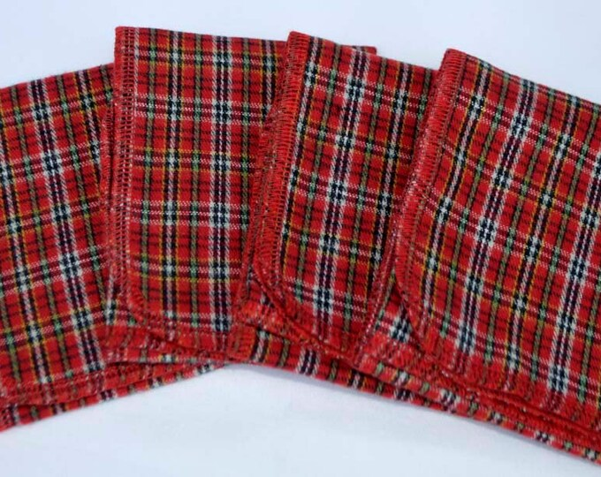 CLOSEOUT SALE!! Brushed Cotton Flannel Hankies 14x14 packs of 4