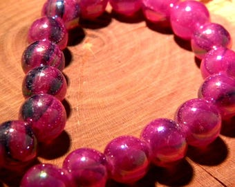 5 glass beads plated translucent AB - rainbow effect - 10 mm-purple-PF139-5