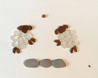 Sea glass and rock 'Counting Sheep' unframed art sweet dreams baby nursery