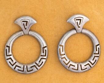 Vintage Southwestern Aztec Inspired Sterling Loop Push Back Earrings, VJ #179