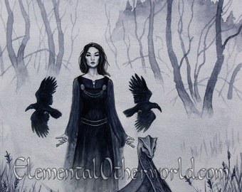 Three Ravens A4 PRINT Mists of Avalon, priestess artwork, witch Goddess, Celtic mythology, Lady of the Lake faerie blue art fantasy painting