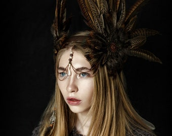 Feather Crown, Feather headband, Feather headpiece,Native American Hoop,Shaman Roach Crown,Pheasant crown,Feather headdress,Independence Day