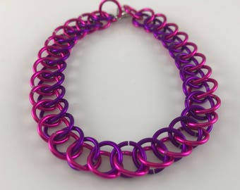 Sale 25% off Pink and Purple Half Persian Chainmaille Bracelet,