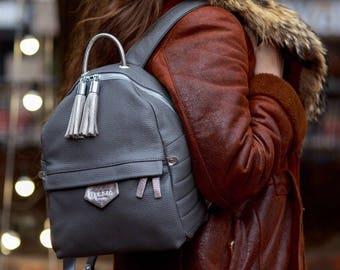 Backpack Leather, Women Backpack, Gray Backpack, Everyday Rucksack, Gift for Her, Hipster Backpack, Laptop Backpack, Computer Bag,