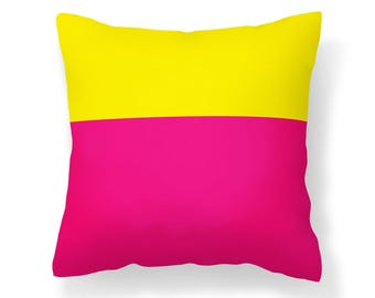 Colorblock Pillow Cover - Pink and Yellow Pillow Cover - Pink Pillow - Yellow Pillow - 16x16 inch pillow - 18x18 inch pillow - 20x20 inch