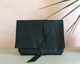 Handmade Black Leather Wrap Clutch