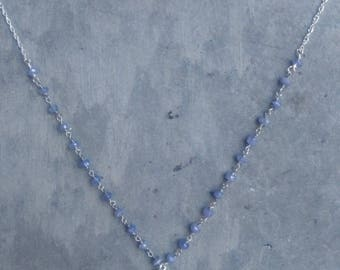 Tahitian Pearl and Tanzanite Necklace, boho wedding, vintage wedding