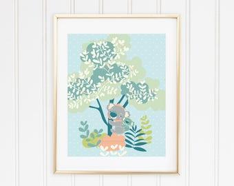 Koala and Baby Tree Print 8 x 10