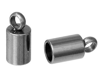10 Stainless Steel End Caps for Kumihimo Jewelry, Leather Cord End Connectors, Bails, Bead Caps, Fits 3mm cord, fin0475