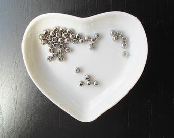10 pearls in stainless steel silver color dark 4 mm