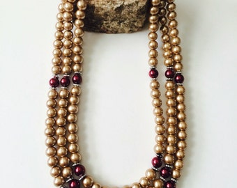Glass Pearls Multistrand Necklace. Available in 9 different colors. Convo me with your preferred colors.
