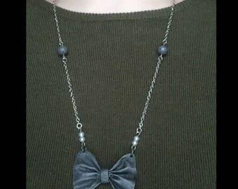 Dark Granite & Pearl Silver Bow Necklace