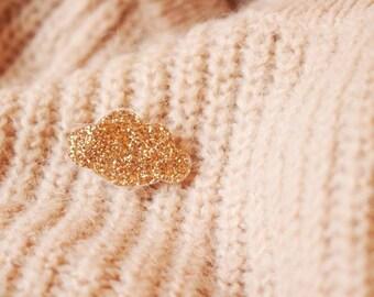 Glitter cloud brooch - gold - black - white