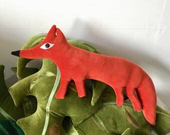 Fox cub  shaped decorative pillow / Cushion . fantastic Mr Fox!  , handmade using Vintage orange velvet