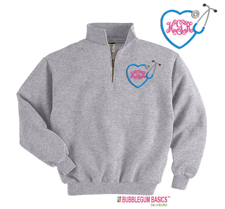 Personalized Embroidered Nurse 1/4 Zip Sweatshirt Pullover p1xF3vyMsv