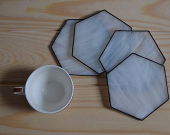 Industrial Hexagon Coaster Set of 4 - White Modern Hex Coasters Minimalist Table Decor for Dining Room or Kitchen
