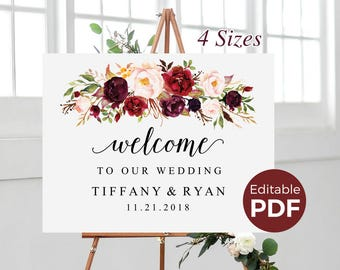 Marsala Wedding Welcome Sign Editable PDF Template, Boho Large Welcome Signage, DIY Printable Floral Wedding Sign, Maroon Autumn Welcome to