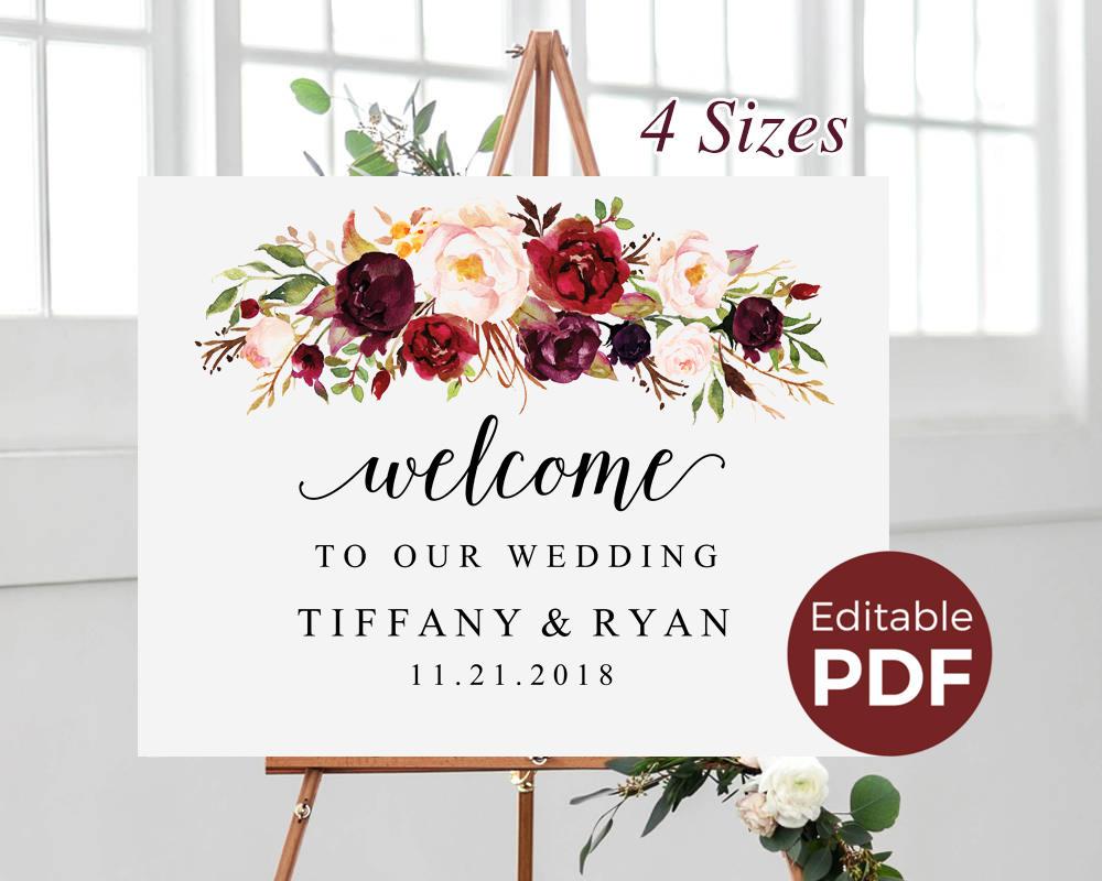 marsala wedding welcome sign editable pdf template boho large