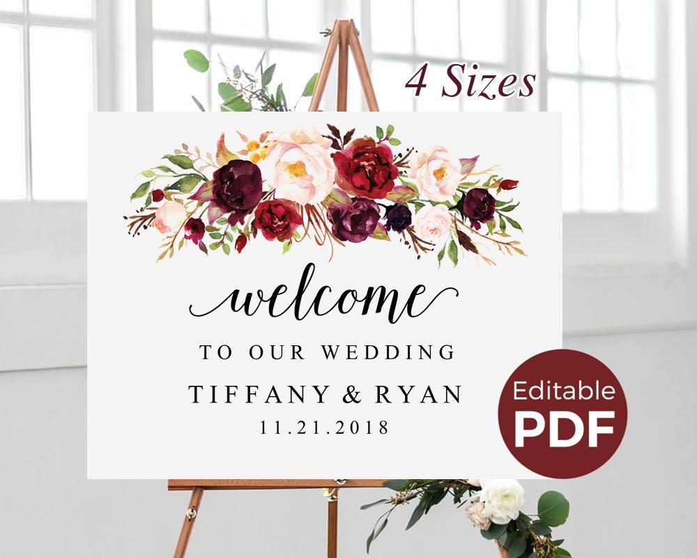 marsala wedding welcome sign editable pdf template boho large. Black Bedroom Furniture Sets. Home Design Ideas