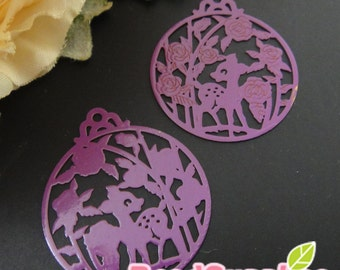 CH-ME-01807 - Purple enameled, Deer in the garden computer-cut plate, round, 4 pcs