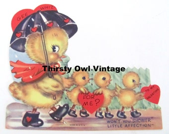 Digital Download, Vintage Duck Valentine, 1960's Valentines Card, Vintage Duck with Umbrella, Valentine's Day, Printable Image, Scrapbooking