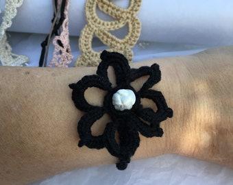 black cotton bracelet