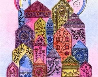 Pretty 'Rainbow Town' Print