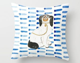 BESPECTACLED ON BLUE  Pillow 4 sizes - 2 orientations And (indoor and outdoor fabrics)
