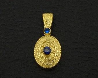 Sapphire Cz Pendant Byzantine Style 925 Sterling Silver 22K Gold  Plated Greek Handmade Art Luxury