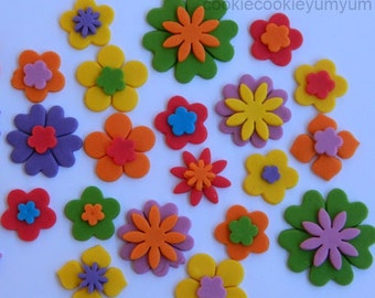 25 edible DOUBLE BLOSSOM FLOWERS icing cake decorations cupcake wedding topper decoration party wedding anniversary birthday engagement