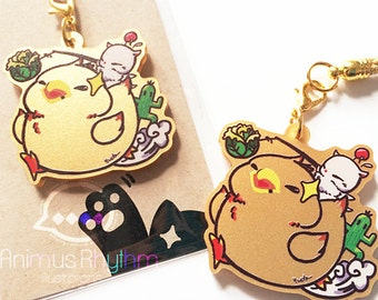 Golden Acrylic straps charm: Fat Chocobo Final Fantasy
