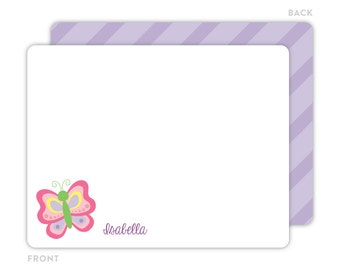 Butterfly Note Cards - Personalized Flat Note Cards - Butterfly Notecards - Thank You Cards - Kids Stationery - Butterfly Stationery