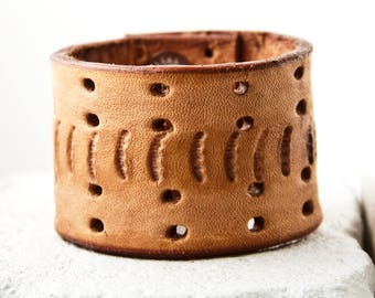 Brown Leather Bracelet Cuff Made From Vintage Belt Rainwheel