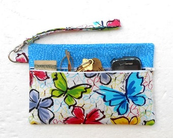 Blue Butterflies Wristlet, Butterfly Clutch, Wallet With Strap, Cell Phone Holder, Makeup or Camera Pouch, Front Zippered Purse, Clutch Bag
