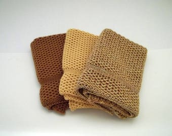 Dishcloths Knit in Cotton in Saffron, Buttercup and Saffron/Buttercup/Sidewalk, Knit Dish Cloth, Knit Wash Cloth, Wash Cloth, Dish Cloth
