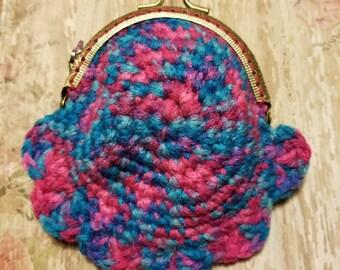 Crochet kisslock coin purse, handmade