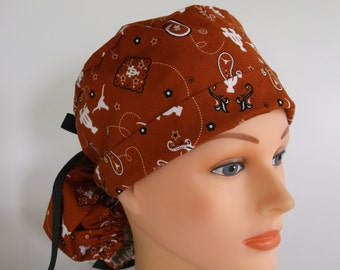 Texas Longhorns Bandanna Ponytail - Womens surgical scrub cap, scrub hat, Nurse surgical cap, f-7670b